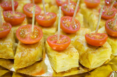 Skewer of potatoes omelette with cherry tomato Royalty Free Stock Image