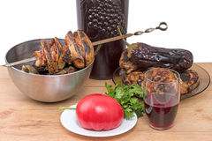 Skewer with red wine Stock Photo