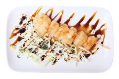 Skewer of scallop Stock Photography
