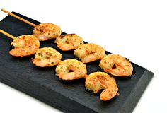 Skewer shrimp Stock Image