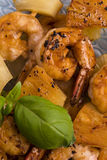 Skewer shrimp with pineapple Stock Image