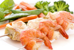 Skewer with shrimps Stock Photography