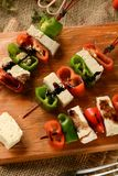 Skewer of tofu and pepper Stock Photography