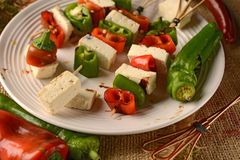 Skewer of tofu and pepper Stock Photos
