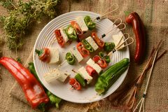 Skewer of tofu and pepper Royalty Free Stock Image