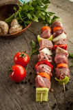 Skewer with vegetables Royalty Free Stock Photography