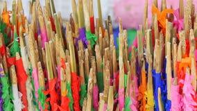 Skewer wood. Thai cash for twenty bath skewer in wood Royalty Free Stock Images