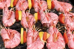Skewered Big Shrimps On The Hot BBQ Grill Stock Photos