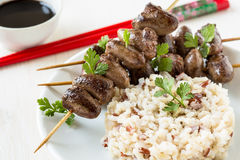 Skewered and grilled chicken hearts Royalty Free Stock Photo