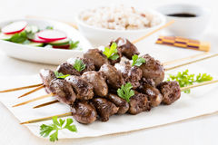 Skewered and grilled chicken hearts Royalty Free Stock Photos