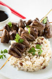 Skewered and grilled chicken hearts Stock Image