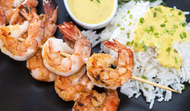 Skewered Prawns with Rice Royalty Free Stock Image