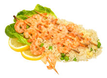 Skewered Prawns And Rice Stock Images