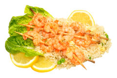 Skewered Prawns And Rice Stock Image