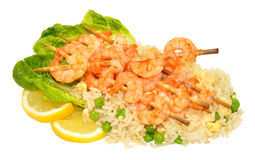 Skewered Prawns And Rice Royalty Free Stock Photo