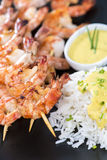 Skewered Prawns with Rice Royalty Free Stock Photos