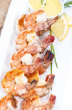 Skewered Prawns with Rice Stock Photos
