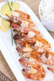 Skewered Prawns with Rice Stock Image
