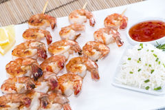 Skewered Prawns with Rice Royalty Free Stock Photography