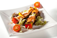 Skewered Salmon Royalty Free Stock Images
