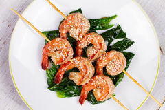 Skewered Sesame Shrimp. View from above, top studio shot. Stock Images
