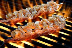Skewered Shrimp Grilling Over Open Flame Royalty Free Stock Image