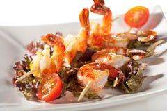 Skewered Shrimps Stock Photo