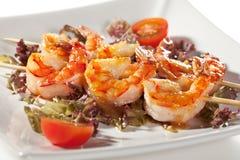 Skewered Shrimps Stock Image