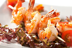 Skewered Shrimps Royalty Free Stock Photos