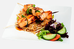 Skewered Teriyaki salmon Stock Image