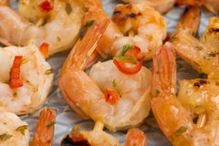 Skewered Tiger Prawns Royalty Free Stock Photography