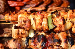 Skewered on wooden sticks tasty pork meat and vegetables mix Stock Image