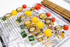 Skewers of Abalone for Barbecue Royalty Free Stock Photos