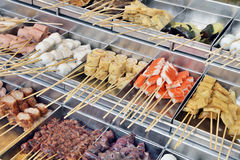 Skewers at asian market Royalty Free Stock Photos
