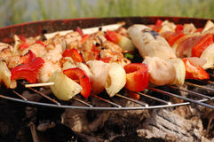Skewers on a barbecue Royalty Free Stock Photos