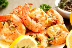Skewers Barbeque grilled prawns with spicy ingredients stock image