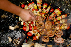 Skewers on barbeque Royalty Free Stock Photography