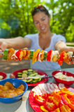 Skewers on a Camping Stock Images