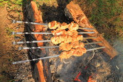 Skewers of chicken cooked Stock Photo
