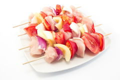 Skewers of Chicken Fillet with Vegetables, Raw.  Stock Images