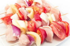 Skewers of Chicken Fillet with Vegetables, Raw.  Royalty Free Stock Photography