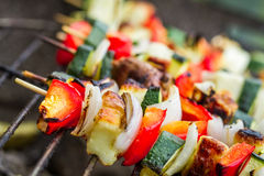 Skewers with chicken and vegetables on the grill Stock Images