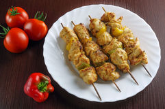 Skewers with chicken Royalty Free Stock Photos