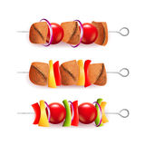 Skewers of different ingredients  vector Royalty Free Stock Photography