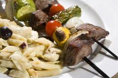 Skewers do bife e do vegetal Foto de Stock Royalty Free
