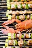 Skewers do Veggie da lagosta e dos salmões Imagens de Stock
