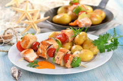 Skewers dos peixes Foto de Stock Royalty Free