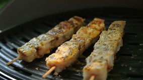 Skewers of fish fried on a grill. Preparation for frying fish kebab. Pepper sauce stock video footage