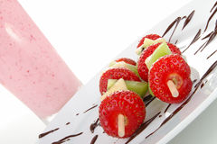 Skewers fruits Stock Images