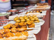 Skewers full of various meats and vegetables Royalty Free Stock Photography